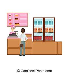 rose, commander, doux, caissier, illustration, personne, vecteur, patisserie, dessert, sourire, café, uniforme, avoir, homme