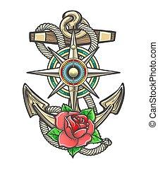 rose, compas, fleur, ancre, windrose