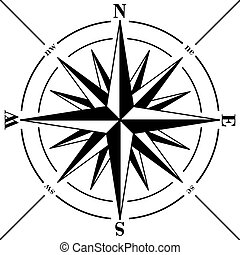 rose, compas, isolé, white.