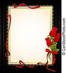 rose, con, laccio, ornamenti