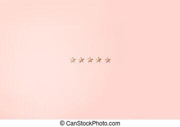rose, concept., formes, arrière-plan., cinq, étoiles, minimalisme, brillant