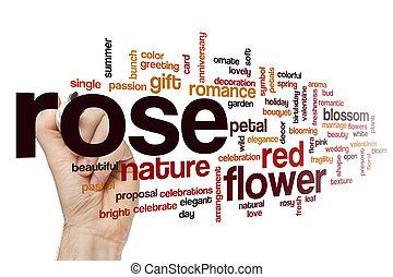 rose, concept, mot, nuage