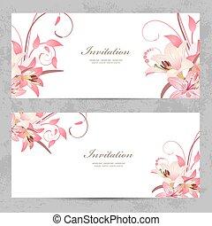 rose, conception, invitation, cartes, lis, ton