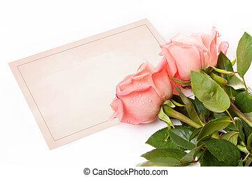 rose, congratulazioni, scheda, vuoto
