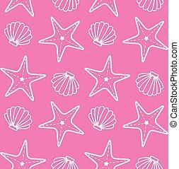 rose, coquille, modèle étoile mer, seamless, mer