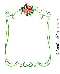 rose, cornice, motivi dello sfondo