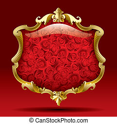 rose, cornice, oro