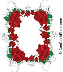 rose, cornice, vettore, rosso, immagine