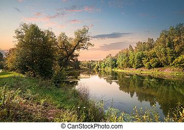 rose, coucher soleil, sur, rivière
