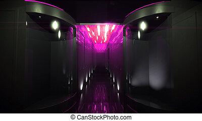 rose, couloir, espace