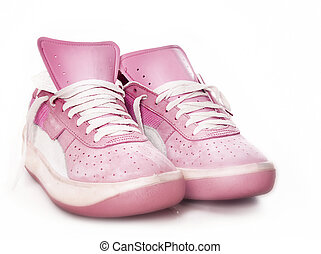 rose, courant, utilisé, chaussures occasionnelles