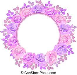 rose, couronne, illustration, vecteur, fond, violet