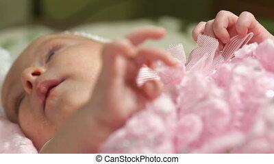 rose, couverture, dorlotez fille, mensonge, heureux