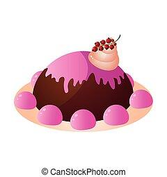 rose, crémeux, gelée, chocolat, bonbons, baie, gâteau