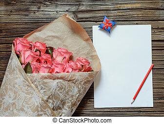 rose, crayon, coloré, roses, papier, vide