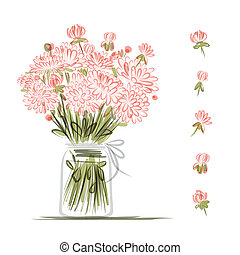 rose, croquis, vase, fleurs, conception, ton