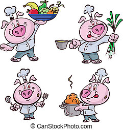 rose, cuisinier, frais, cochon
