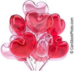 rose, décor partie, ballons, amour