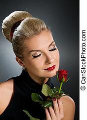 rose, dame, rød, charmerende