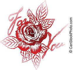 rose, dein, etikett