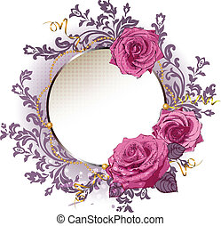 rose dentellare, cornice, eps10