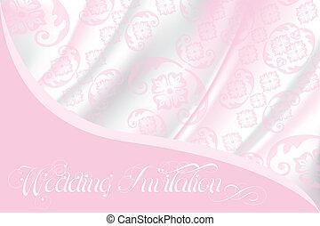 rose, dentelle, lumière, invitation mariage, soie