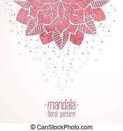 rose, dentelle, modèle, aquarelle, fond, floral, blanc
