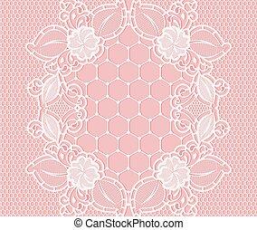 rose, dentelle, modèle, arrière-plan grille, floral, blanc