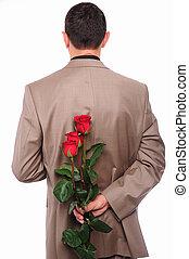rose, derrière, jeune, peaux, homme