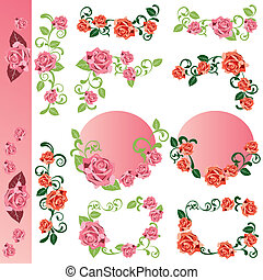 Rose design elements set