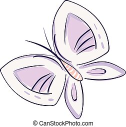 rose, dessiné, simplement, papillon