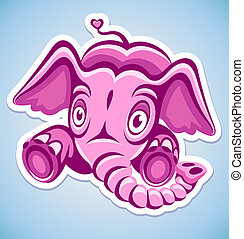 rose, dessin animé, éléphant
