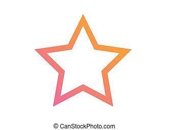 rose, diamant, étoile, gradient, vecteur, orange, icône
