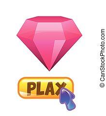 rose, diamant, icône
