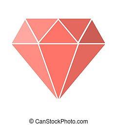 rose, diamant, illustration., isolated., vecteur, icône