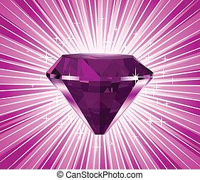 rose, diamant, illustration, vecteur