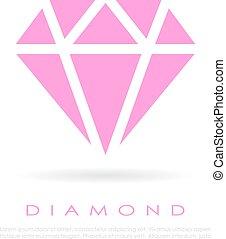 rose, diamant, vecteur, icône