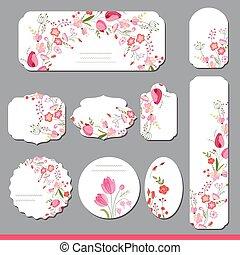 rose, différent, étiquettes, tulipes, shapes., collection, roses, flowers., papier, rond, floral, announcements., rouges