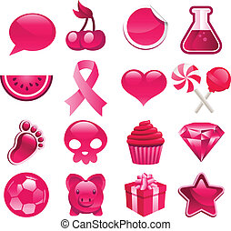 rose, divers, icônes