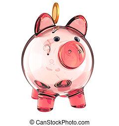rose, doré, argent économie, verre, vide, porcin, coin., banque