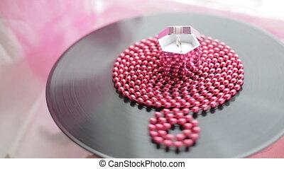 rose, doré, boîte anneau, mariage