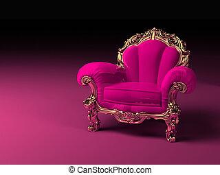 rose, doré, cadre, luxe, fauteuil