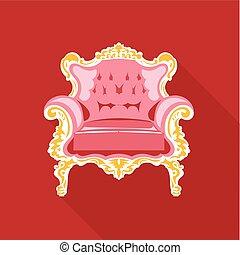 rose, doré, vendange, vecteur, numérique, chaise