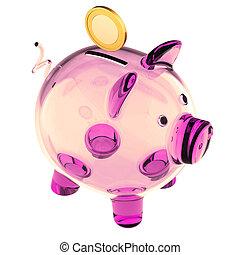 rose, doré, verre, vide, porcin, banque pièce monnaie