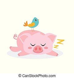 rose, dormir, cochon