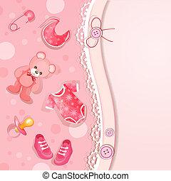 rose, douche bébé, carte