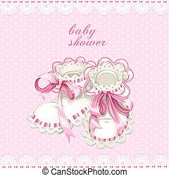 rose, douche, carte, nouveau né, butins, bébé