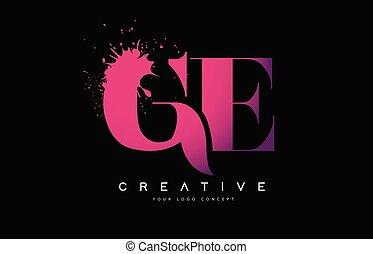rose, e, g, renverser, éclaboussure pourpre, aquarelle, ge, ...