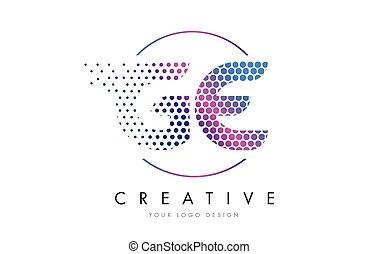 rose, e, pointillé, g, ge, vecteur, conception, lettre, logo...