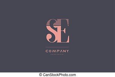 rose, e, vendange, compagnie, s, conception, retro, lettre, logo, icône
